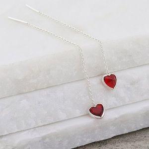 😍 Silver/Cubic Zirconia Heart Threaded Earrings